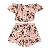 TUDUZ Shorts und Top Sets Damen Sommer Strand Zweiteiler Schulterfrei Sunflower Printed Beachwear Chiffon Crop Tops (Rosa, S)