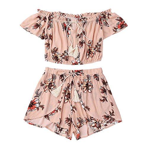 TUDUZ Shorts und Top Sets Damen Sommer Strand Zweiteiler Schulterfrei Sunflower Printed Beachwear Chiffon Crop Tops (Rosa, M)