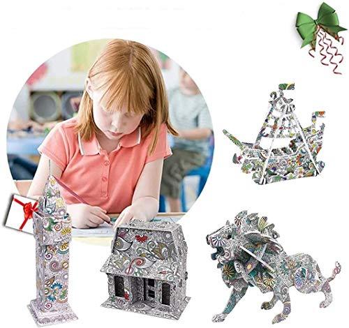 ZZCL Juego De Rompecabezas De Pintura para Colorear En 3D para Niños, Juego De Rompecabezas De Arte Y Manualidades para Niños, con 10 Rotuladores, para Niños De 5 A 12 Años (Type A)