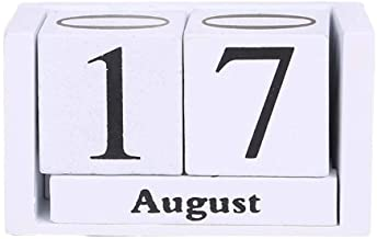 BOBEINI Grote Vintage houten eeuwigdurende kalender eeuwig blok maand datumweergave Bureau accessoire fotografie rekwisiet...