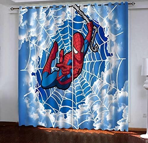 lubenwei Marvel Capitán América Pentagram Shield Cortinas Vengadores Iron Man Hulk 3D Blackout Cortina Niños Dormitorio Sala de Estar Decoración 290(H) x200(W) Cmx2 Paneles/Set (B-880)