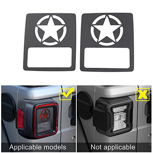 JeCar Taillights Cover Tail Light Guards Cover for 2018 Jeep Wrangler Unlimited JL Sport/Sports(Five Stars)