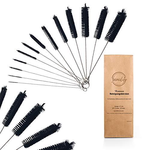 fancility® 13 Premium Bürsten - Reinigungsbürste für Kaffeevollautomat, Thermomix, Nuk Trinkflasche UVM. Milch-Schlauchbürste Flaschenbürste dünn
