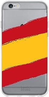 Funnytech® Funda Silicona para iPhone 6 / 6S [Gel Silicona Flexible, Diseño Exclusivo] Bandera España Transparente
