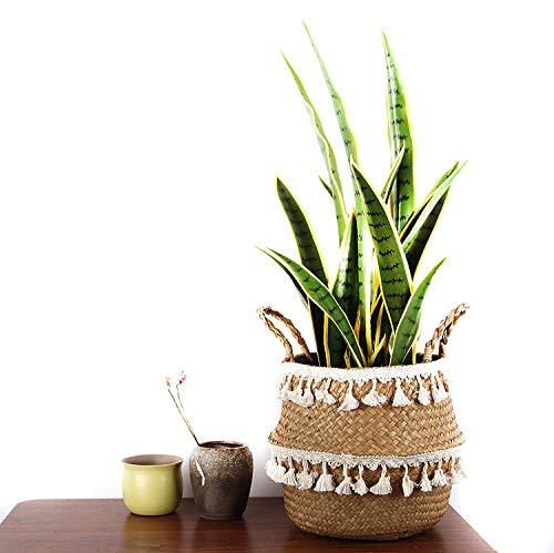 BlueMake Bauch Korb aus gewebtem Seegras zur Aufbewahrung von Pflanzen oder Spielzeug Korb Wohnzimmer Badezimmer (Small,Doppelte Quaste) - 5