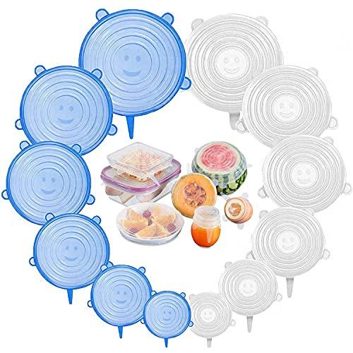 Youcool Coperchi in Silicone Estensibile, 12 PCS Coperchi Silicone Universali, Coperchi in Silicone Stretch Senza BPA, Coperchi in Silicone per Pentole Riutilizzabile per Alimenti, Blu Bianco