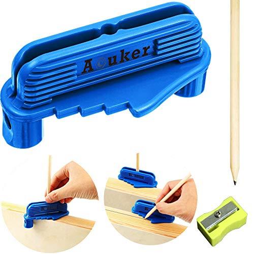 Aouker Center Scriber Line Scriber Woodworking Marking Offset Marking Tool Marking Center Finder Tool Wood Scribe Marking Gauge Kit with Pencil and Sharpener