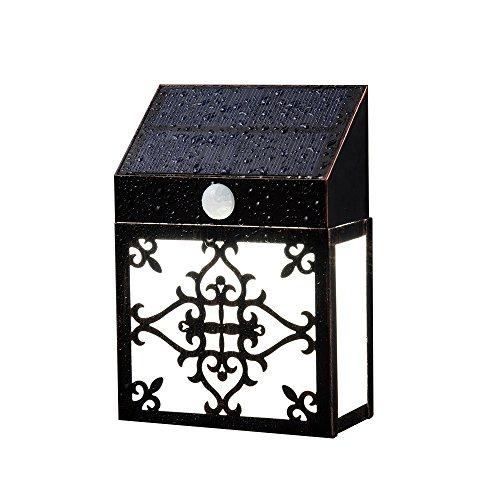 Zonne-wandlampen, 16 LED draadloze PIR bewegingssensor IP65 waterdichte retro metalen Silhouette ontwerp buitenverlichting voor tuin, pad, dek, terras en andere buitenmuren
