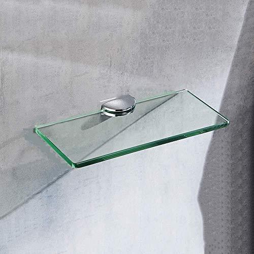 Yxsd Estante de baño, vidrio templado de una sola capa para cuarto de baño, espejo de baño marco frontal de baño estante de vidrio