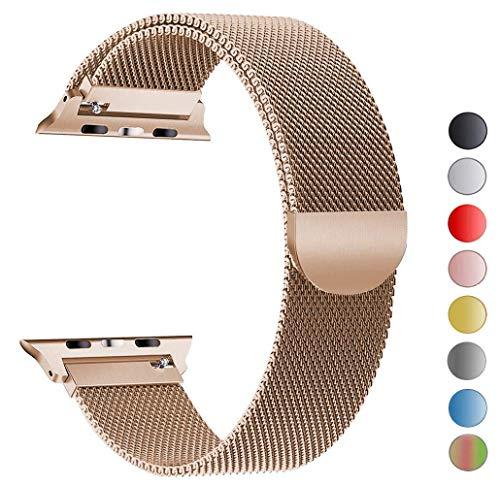 VIKATech Compatible Cinturino per Apple Watch Cinturino 40mm 38mm, Cinturino Orologio Bracciale in Acciaio Inossidabile Cinghia Banda Bracciale per iWatch Series 5/4/3/2/1, Oro