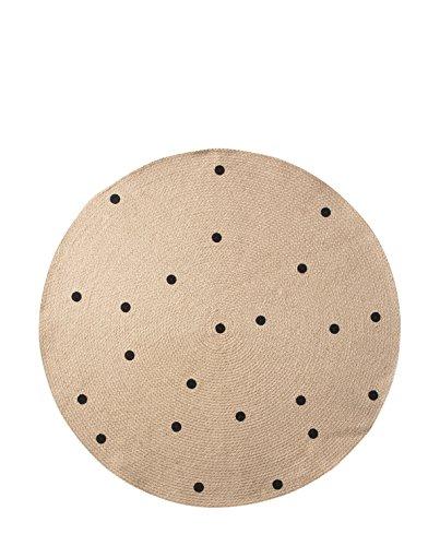 Ferm Living Jute Black Dots Teppich klein, Natur schwarz rund Ø 100cm
