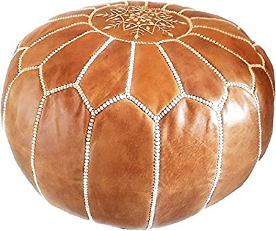 Moroccan Leather Pouf - Handmade Leather Pouffe - Luxury Tan Pouf - Ottoman Footstool Hassock - 100% Real Natural Goat Leather - Unstuffed…