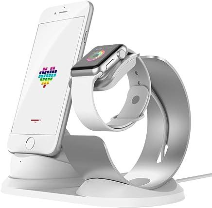 2d887bc9174 iitrust Soporte para iPhone y iWatch, 2 en 1 Soporte de Aleación de  Aluminio para Apple Watch,Soporte Movil Cargador para iPhone 5S / 5 / SE/ 6/  6s /6 Plus/ ...