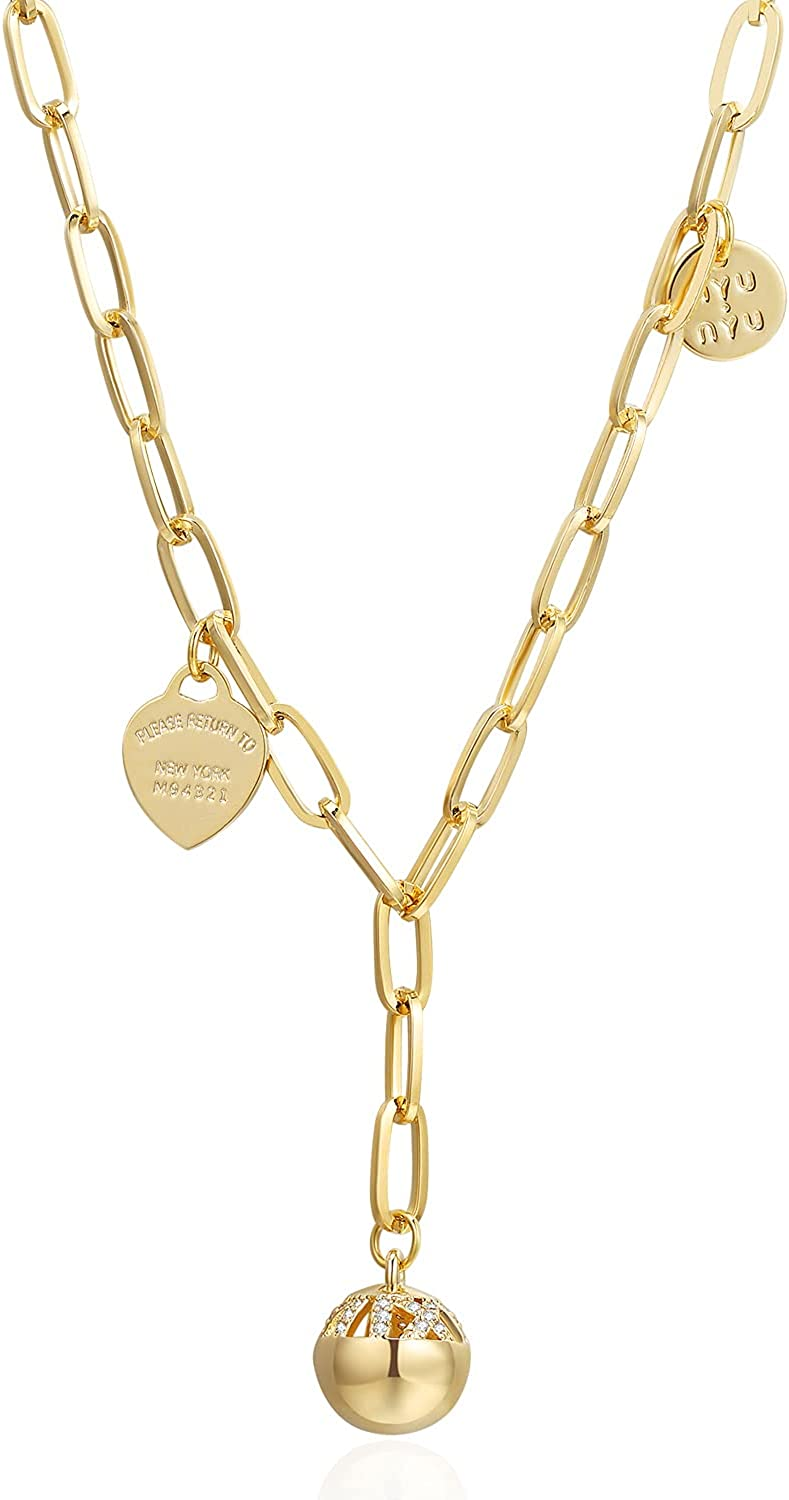 VIENNOIS Gold Plated Necklace small ball pendant Link Chain Necklaces for Women Girls