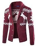 DressUMen Milu impreso 1 botón de ocio navidad suéter de punto chaqueta de punto para Hombres Vino rojo Grande