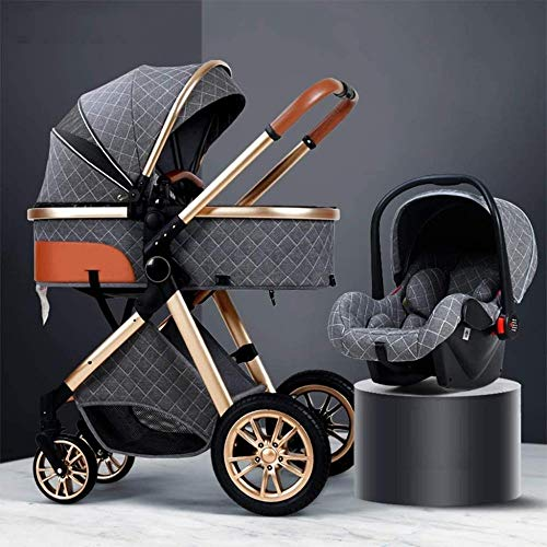 3 In 1 Stroller Carriage With Oversized Canopy/Easy One-Hand Fold,Foldable Baby Stroller Anti-Shock Springs High View Pram Baby Stroller With Baby Basket (Color : Gray),Colour:Khaki ( Color : Gray )