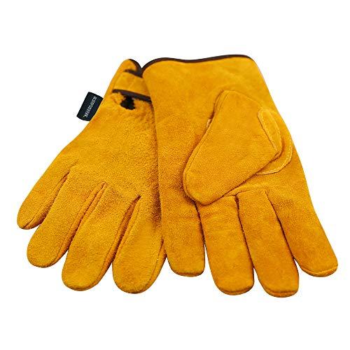 耐熱牛革 キャンプグローブ 裏付き 耐熱グローブ 防寒革手袋 オレンジ (L)
