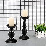OMKMNOE Retro Kerzenhalter 2 Set in Unterschiedlicher Größe, Antik Kerzenständer Eisen Deko Kerzenleuchter Für Stumpenkerzen Vintage Tischdeko Hochzeit Für Weihnachten Geburtstag,Schwarz