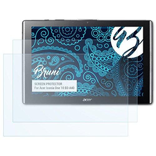 Bruni Schutzfolie kompatibel mit Acer Iconia One 10 B3-A40 Folie, glasklare Bildschirmschutzfolie (2X)