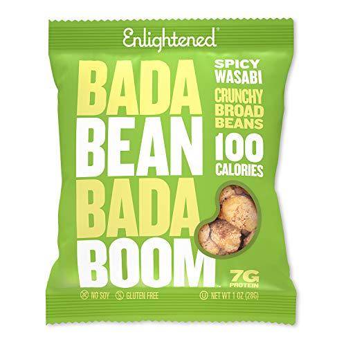 Bada Bean Bada Boom - Proteína a base de plantas, sin gluten, vegano, crujiente tostado amplio (Fava) Bean Snacks, 100 calorías por...