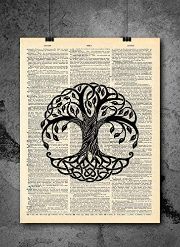 Celtic Tree Leaves - Celtic Tree Leaves Vintage Art - Authentic Upcycled Dictionary Art Print - Home or Office Decor (D368)