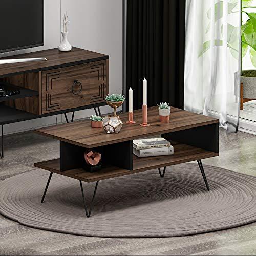 Milestone Couchtisch - Moderner Wohnzimmertisch - Kaffeetisch - Beistelltisch in trendigem Design mit extra Ablagefläche (Nussbaum/Schwarz)