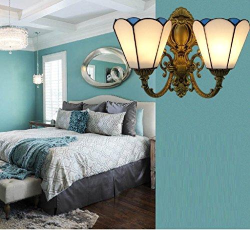 Méditerranéen continental fer lampe murale en verre simple balcon éclairage blanc salon lampe murale chevet chambre lampe allée