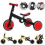 HBBH Bicicletas Bicicletas Balance bebé Juguetes del bebé de 1-3 Años de Edad Infantil niño de los Cabritos de Bicicletas sin Pedal de 3 Ruedas del Tren del bebé para Estar de pie a la ejecución,Rojo