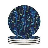 Perstonnoli Posavasos redondos de cerámica con base de corcho, juego de 4 posavasos decorativos para bebidas, tazas, bares, cristal, 10 cm, color...