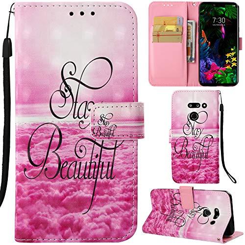 DodoBuy LG G8 ThinQ Hülle 3D Flip PU Leder Schutzhülle Stand Handy Tasche Brieftasche Wallet Hülle Cover für LG G8 ThinQ - Stay Beautiful
