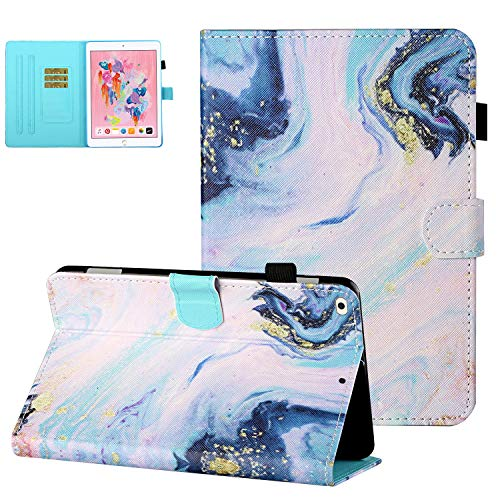 UGOcase for iPad 9.7 2018/2017 Case with Pencil Holder, iPad Air 2 Case Air 1 Cover, Slim Stand Auto Sleep Wake PU Leather Protective Card Slots Case for iPad 6th/5th Gen/iPad Air 1/2 - White Marble