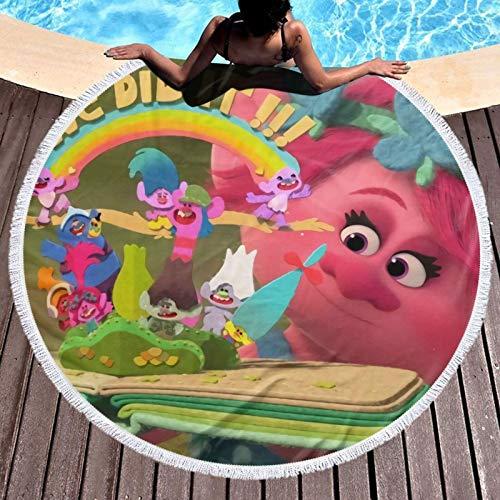 Tr-Ol-Ls - Toalla de playa redonda de microfibra grande circular para la playa, pícnic, esterilla de yoga con flecos para mujer