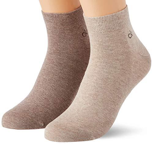 Calvin Klein Socks Mens Casual Flat Knit Cotton Men's Quarter (2 Pack) Socks, brown combo, 43/46