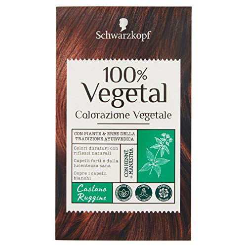 Schwarzkopf 100% Vegetal, Colorazione Vegetale per Capelli, Tinta per Copertura dei Capelli Bianchi, Formula Vegana Ultra Delicata, Castano Ruggine