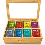 Woodcha Natural Bamboo Tea Box Storage Organizer- 8 Compartments...