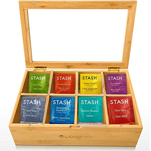 Woodcha Natural Bamboo Tea Box Storage Organizer 8 Compartments Tea Bag Holder with Clear Glass Lid Natural Wooden Finish Tea Storage Organizer
