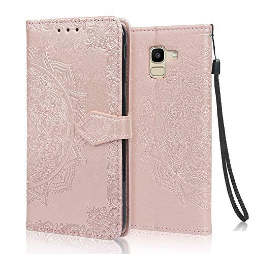 achoTREE Coque pour Samsung J6 2018, Premium PU Cuir de Protection [Stand Support] [Porte-Cartes de Crédit] Portefeuille Étui Housse Coque pour Samsung Galaxy J6 2018 - Or Rose