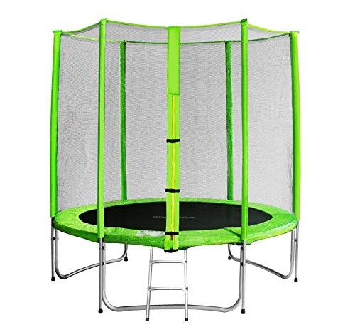 SixBros. SixJump 1,85 M Trampolino elastico da giardino verde - Scaletta - Rete di sicurezza - Copertura antipioggia - CST185/L1575