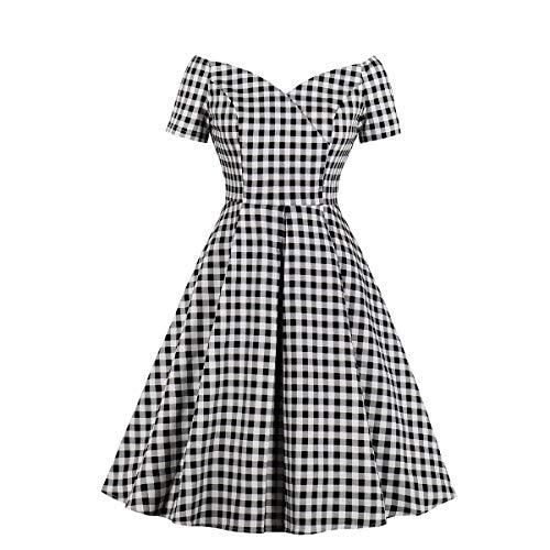 Wellwits Women's Plus Size Off Shoulder Plaid Cocktail 50s 60s Vintage Dress 3XL