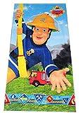 Serviette enfant pompier Sam, serviette de plage, serviette de bain 70 x 140 cm en 100% coton avec joint Oeko Tex Standard 100