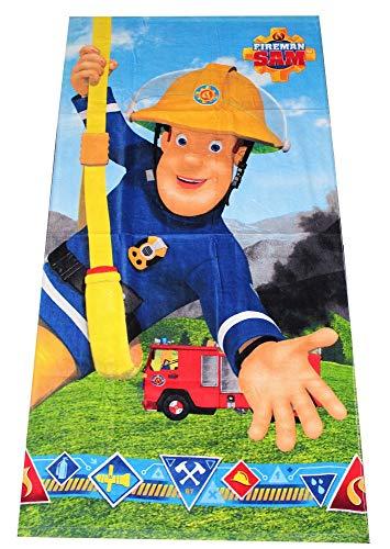 Feuerwehrmann Sam Kinder Handtuch, Strandtuch, Badetuch 70 x 140 cm aus 100% Baumwolle mit Öko Tex Standard 100 Siegel