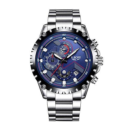 LIGE Sport Herren Uhren Quarzuhr Luminous Man Armbanduhr Relogio Musculino Chronograph