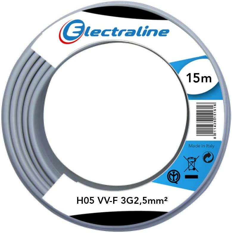 Electraline 60107086I Limited time for free shipping Cable Max 80% OFF Coil H05 VV-F Grey 3G2.5 m 15