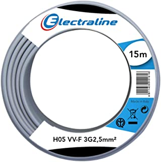 Electraline 60107086I Cable Coil H05 VV-F 3G2.5 15 m Grey