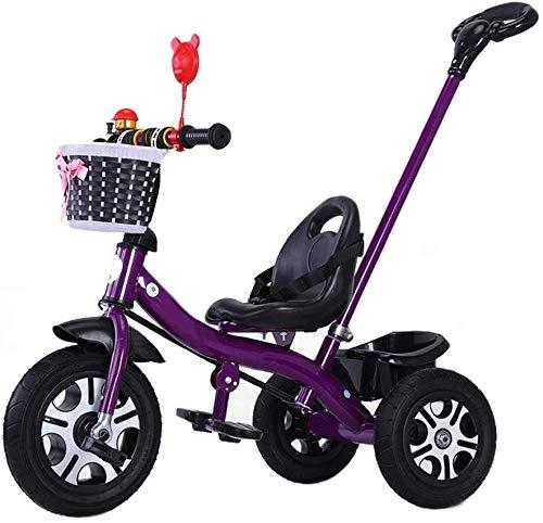 WLD S Training Vehicle kinderfiets S Triciclo Baby Bike Light kinderwagen S 'driewieler veiligheidsgordel dubbele rem met bel beste keuze voor jongens en meisjes Paars