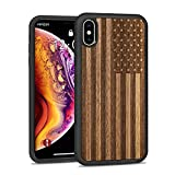 JuBeCo for iPhone X/Xs Case Wood 5.8-inch, Wood +PC+ TPU Hybrid Hard Protect Case Shock Absorption,Nature Case - US Flag