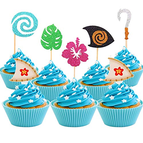 30 Pcs JeVenis Glittery Moana Inspired Cupcake Toppers Moana Cake Toppers Hawaiian Birthday Party Decoration for Tropical Luau Summer Party Baby Shower Wedding