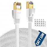 Cable Ethernet 15 Metros, Exterior Impermeable Al Aire Libre Cat7 Cable De Red Plano, Rj45 Network Cable Gigabit Blanco Lan Alta Velocidad Cable De ConexióN A Internet De 750mhz, 15 Clips Gratis