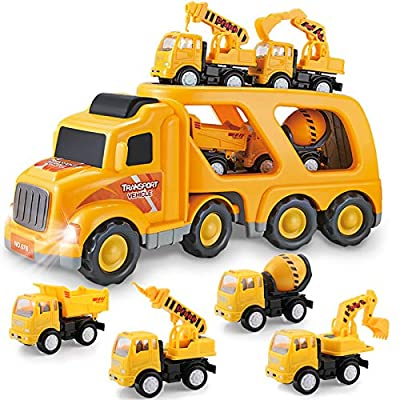 Construction Truck Toys for 3 4 5 6 Years Old Toddlers Kids Boys and Girls, Car Toy Set with Sound and Light, Play Vehicles in Friction Powered Carrier Truck, Small Crane Mixer Dump Excavator Toy by Forty4