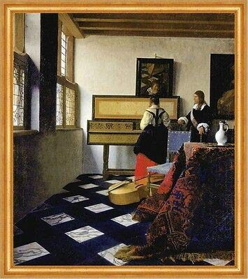 Kunstdruck Lady at The Virginal with a Gentleman Jan Vermeer Musik Lesson Krug B A2 02463